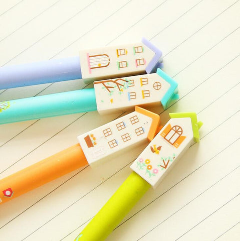 Beautiful House Gel Ink Pen 4pcs - Kute Kico Kawaii Stationery