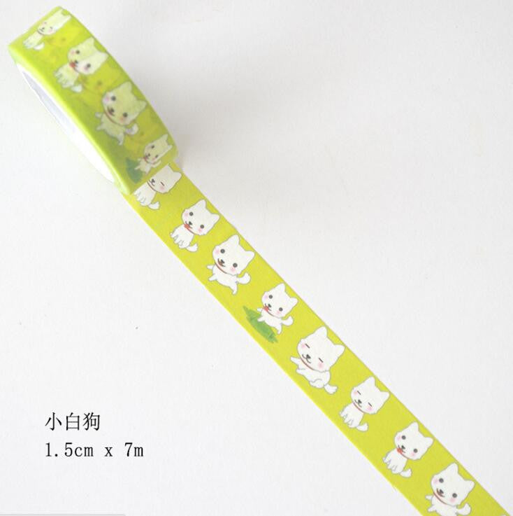 Little White Dog Decorative Washi Tape - Kute Kico Kawaii Stationery