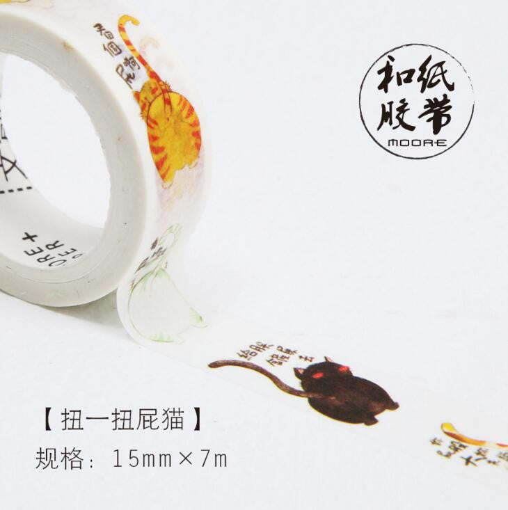 Day in the Life of a Cat Decorative Washi Tape - Kute Kico Kawaii Stationery