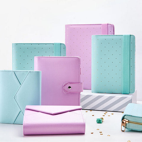 Mint, Lavender, and White color A5 and A6 Pouch Series - Kute Kico Kawaii Stationery