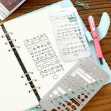 Multi-Functional Stencil Templates Stainless Steel Drawing Ruler - Kute Kico Kawaii Stationery