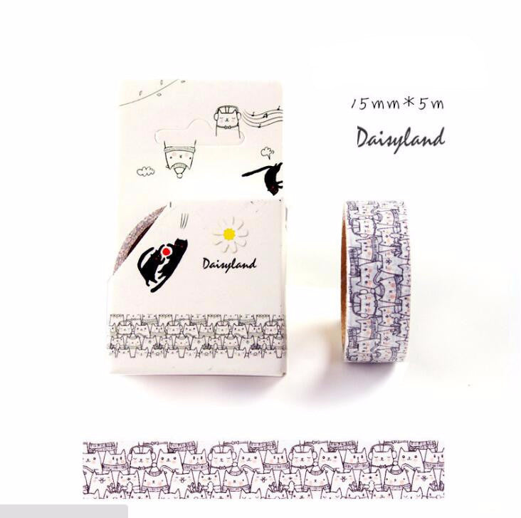 Black & White Cat Decorative Washi Tape - Kute Kico Kawaii Stationery
