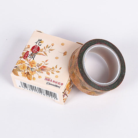 Autumn Flowers Twilight Washi Tape - Kute Kico Kawaii Stationery