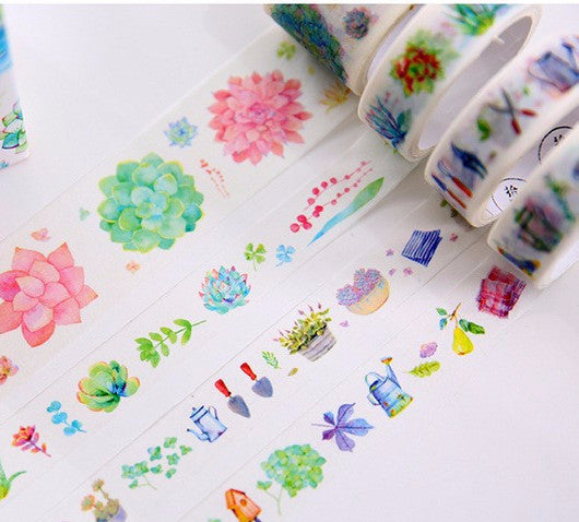 Succulents Decorative Washi Tape 4pcs/box - Kute Kico Kawaii Stationery