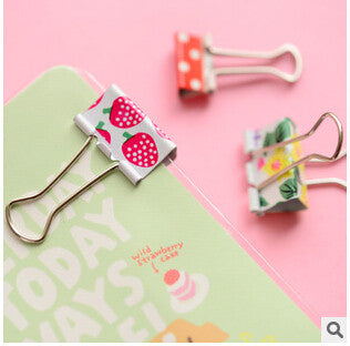 Cute Metal Binder Clips 6pcs - Kute Kico Kawaii Stationery