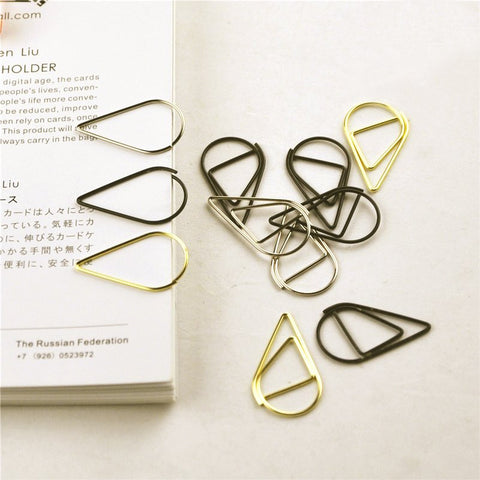 Water Drop Metal Paper Clip Bookmark 10pcs - Kute Kico Kawaii Stationery
