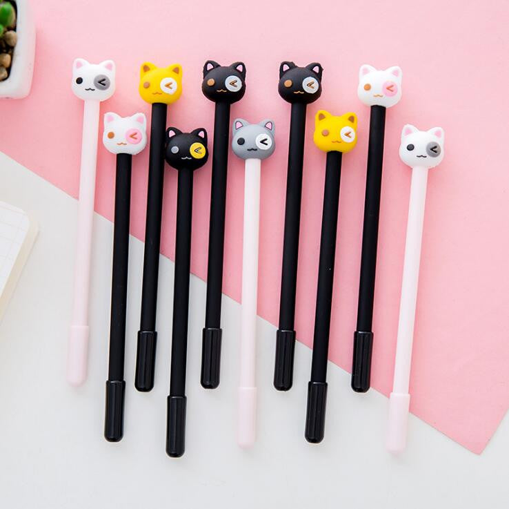 Funny Cat Team Gel Ink 6pcs - Kute Kico Kawaii Stationery