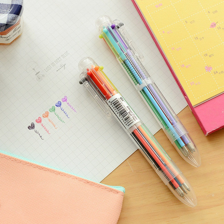 Six Colors Ball Point Pen - Kute Kico Kawaii Stationery