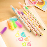 Double End Highlighter Fluorescent Markers 6pcs - Kute Kico Kawaii Stationery