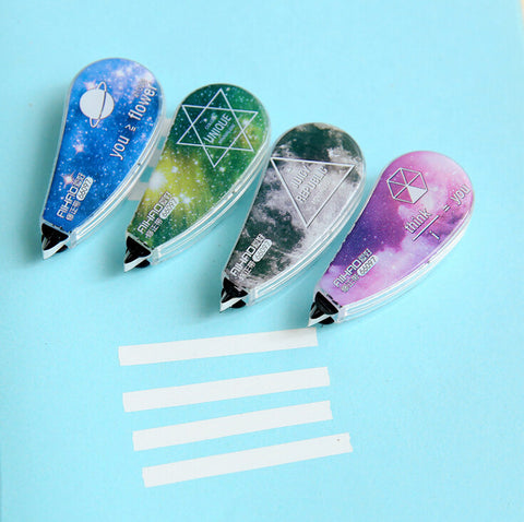 Starry Galaxy White Out Correction Tape 4pcs/pck - Kute Kico Kawaii Stationery