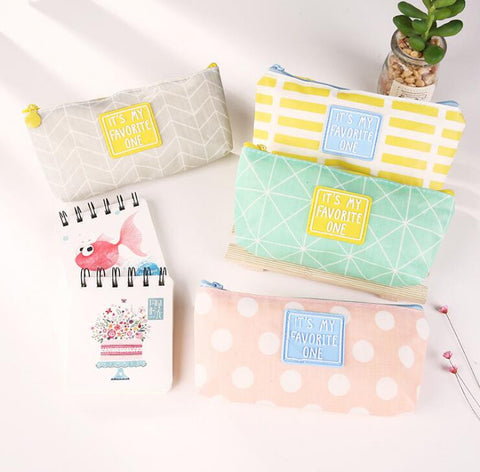 Canvas Pattern Bag  Large Capacity Pencil Bag Stationery Storage Organizer Case School Supply - Kute Kico Kawaii Stationery
