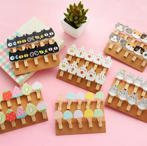 Cute Animal Fruit Clips 10 pcs/pack - Kute Kico Kawaii Stationery