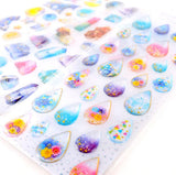 Gold Foil 3D Gemstone Waterdrop Shell Stickers - Kute Kico Kawaii Stationery