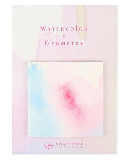 Watercolor Geometric Self-Adhesive Memo Pad Sticky Notes - Kute Kico Kawaii Stationery