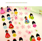 Kimono Doll & Sakura Decorative Stickers - Kute Kico Kawaii Stationery