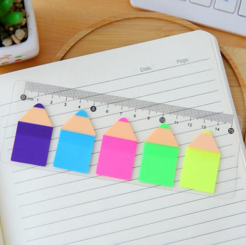 Fluorescent Pencil Self-Adhesive Memo Pad - Kute Kico Kawaii Stationery