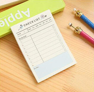 Weekly Plan Time Schedule Check List Memo Pad Sticky Notes Flower Bird