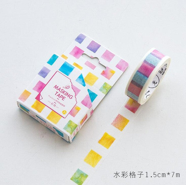 Rainbow Watercolor Check Box Washi Tape - Kute Kico Kawaii Stationery