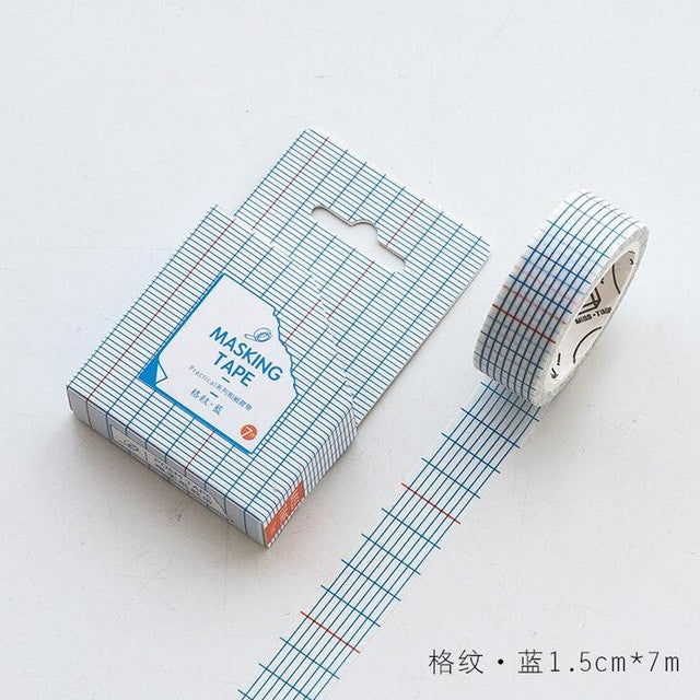 Stripe Checkered Lined Washi Tape - Kute Kico Kawaii Stationery