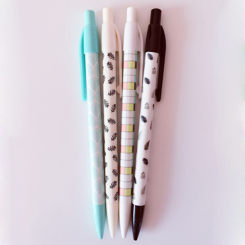 Leaf Pattern Mechanical Pencil Set of 4 - Kute Kico Kawaii Stationery
