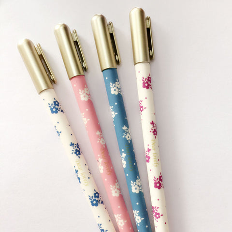 Floral Gold Cap Gel Pen Set of 4 - Kute Kico Kawaii Stationery