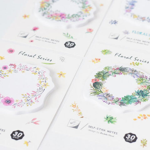 Flowers Garland Memo Pad Sticky Notes - Kute Kico Kawaii Stationery