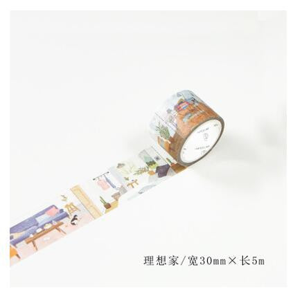 Living Room Washi Tape - Kute Kico Kawaii Stationery