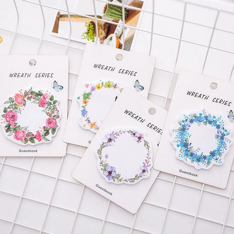 Flower Wreath Sticky Notes - Kute Kico Kawaii Stationery