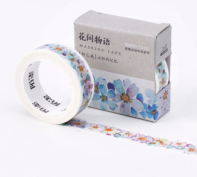 Blue & Purple Daisy Floral Washi Tape - Kute Kico Kawaii Stationery