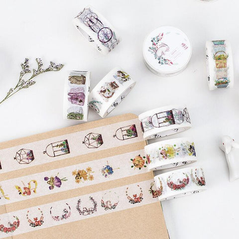 Woodland Animal Floral Wreath Washi Tape - Kute Kico Kawaii Stationery