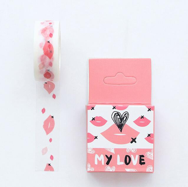 Love Kisses Washi Tape - Kute Kico Kawaii Stationery
