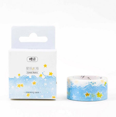 Star Blue Sea Washi Tape - Kute Kico Kawaii Stationery