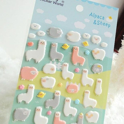 Alpaca Puffy Stickers - Kute Kico Kawaii Stationery