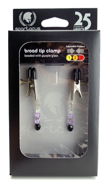 BROAD TIP CLAMP W/PURPLE BEADS
