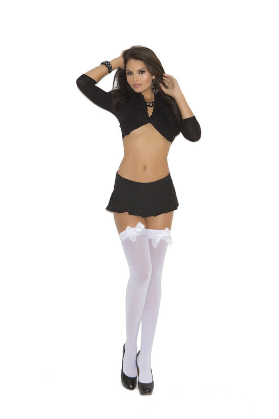 OPAQUE THIGH HI W/ SATIN BOW BLACK QUEEN