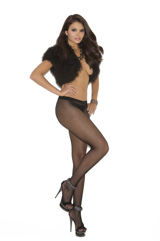 FISHNET HOSE W/RHINESTONE SEAM QUEEN