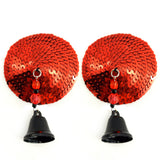 BIJOUX NIPPLE COVERS SEQUIN ROUND W/BELLS RED - Sex Toy Factory - Fresh & Play