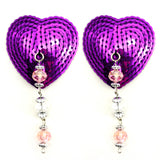 BIJOUX NIPPLE COVERS SEQUIN HEART W/FACETED BEADS  and  FLOWER CHARM - Sex Toy Factory - Fresh & Play