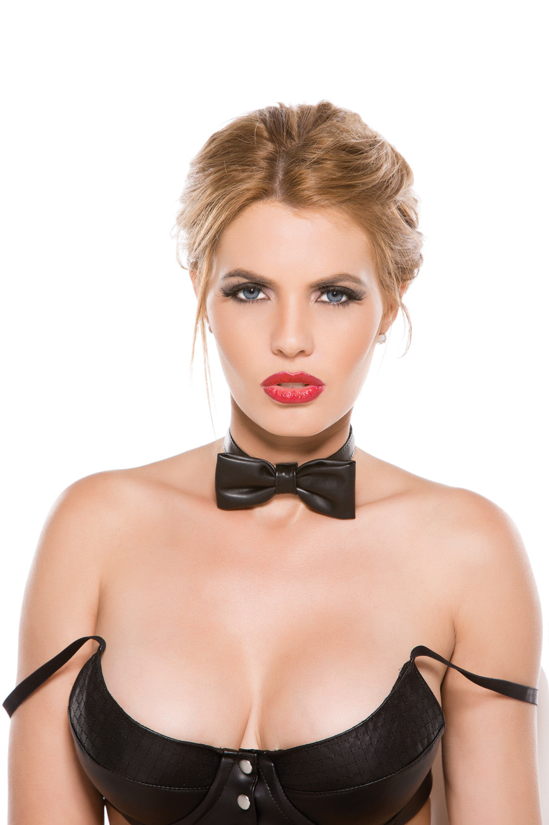BLACK FAUX LEATHER BOW TIE COLLAR O/S - Sex Toy Factory - Allure Lingerie