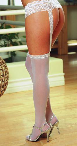 PANTYHOSE WITH GARTERS WHITE OS QUEEN INVERONAIN