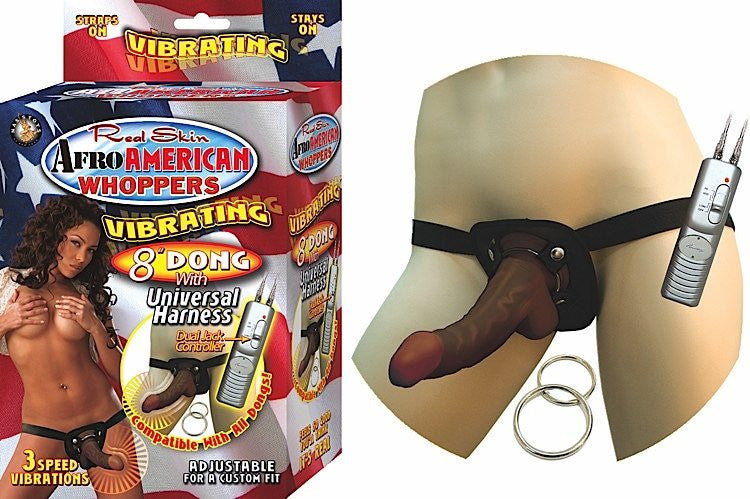 AFRO AMMERICAN WHOPPERS VIBRATING 8INDONG W/HARNESS