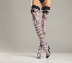 SPANDEX SHEER STOCKING W/ STRIPES  and  SATIN BOWS - Sex Toy Factory - Bewicked Lingerie