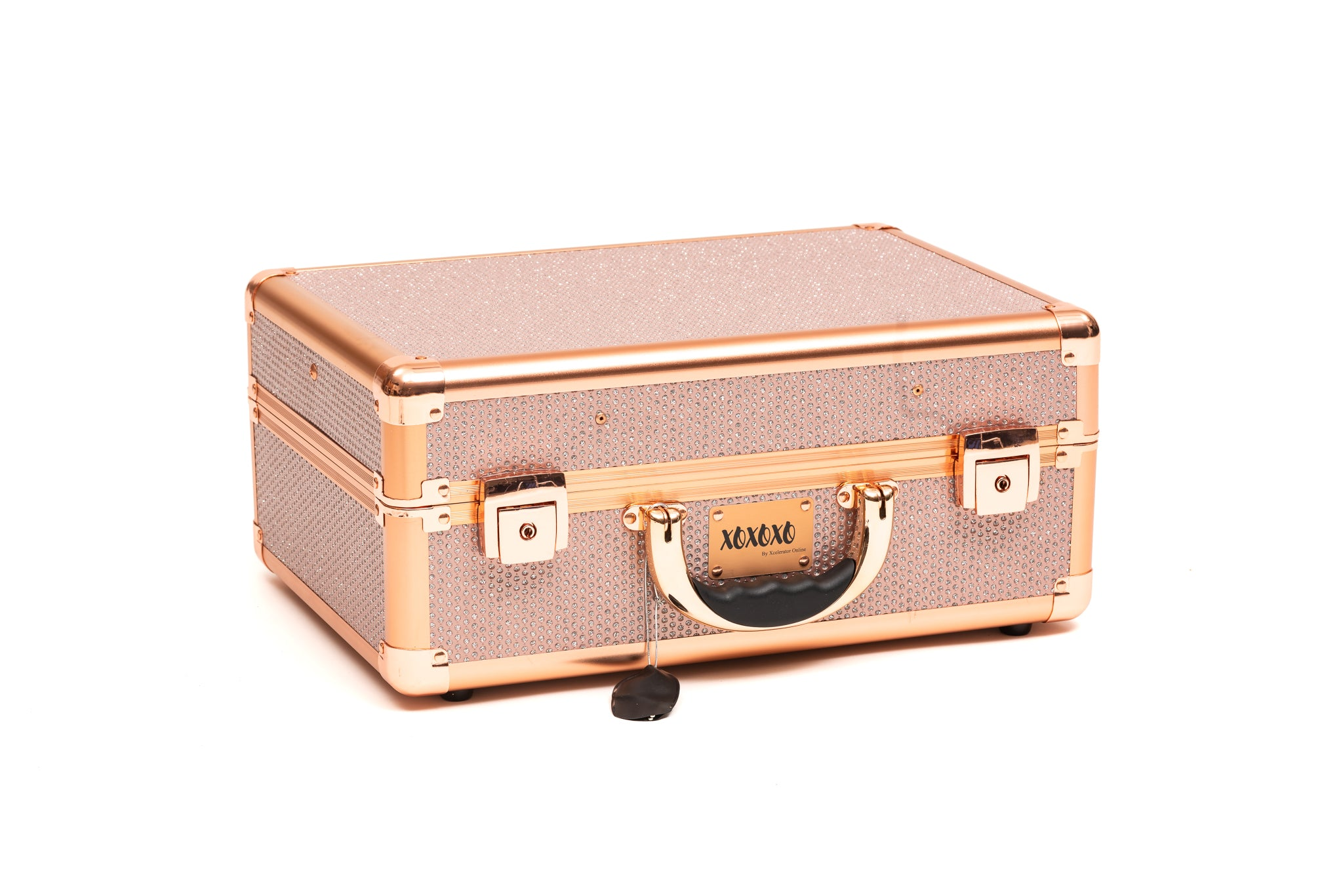 Makeup Case / Station-XOXOXO ROSE GOLD & PINK WITH GLAMOROUS GLITTER