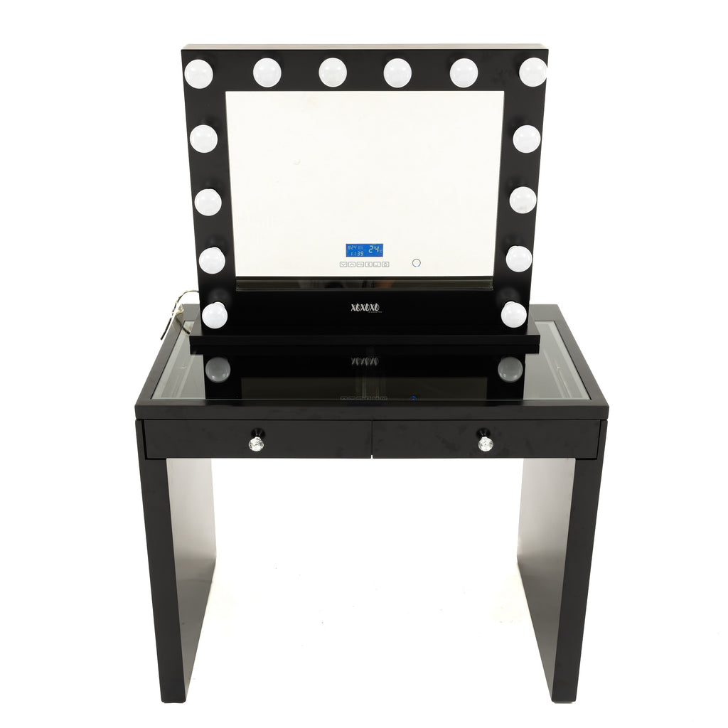 Vanity Station 2 pieces - Black Vanity With 2 Drawers with Black Bluetooth Hollywood Mirror- STOOL NOT INCLUDED-IN STOCK