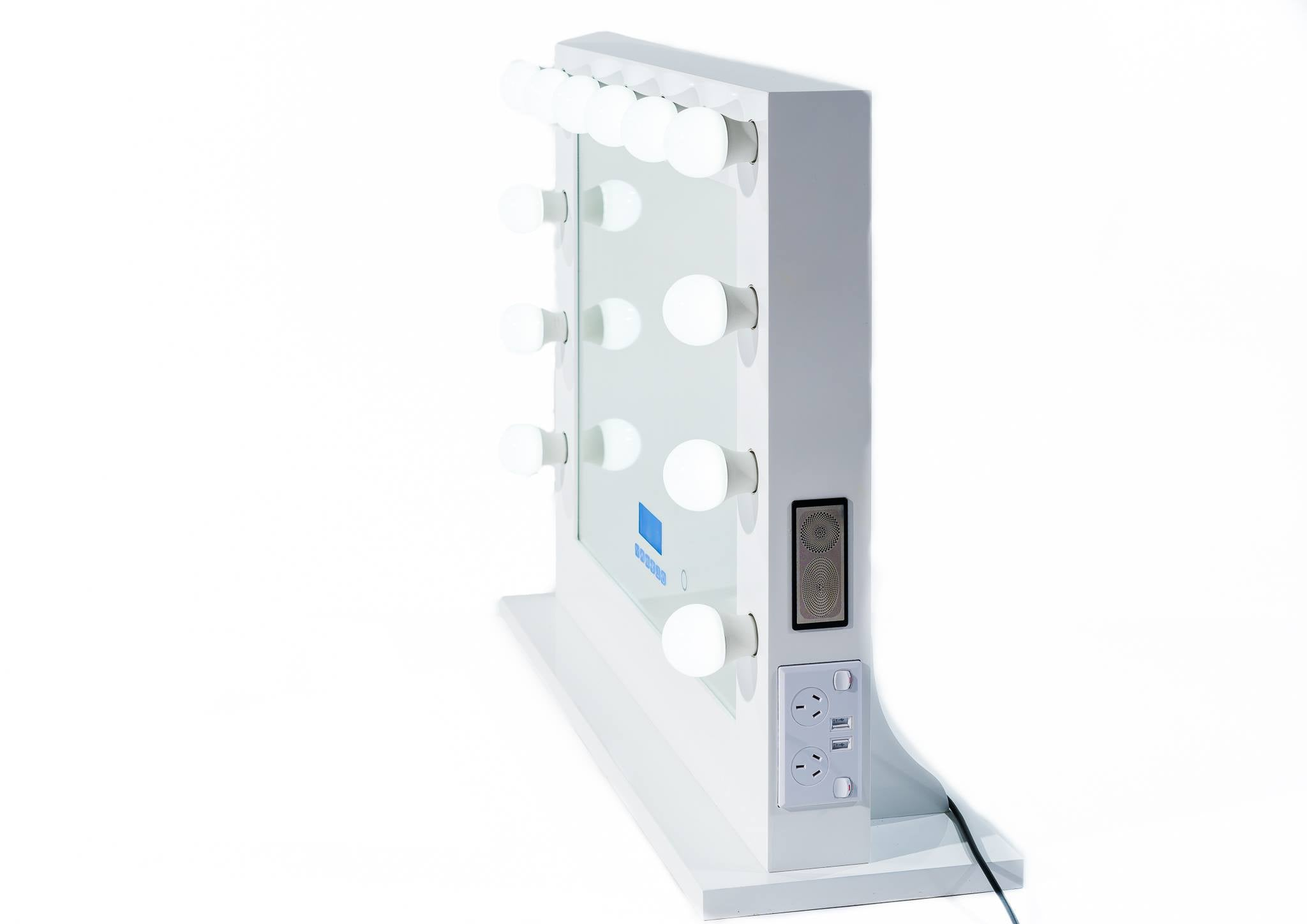 Hollywood Mirror Extra Large WHITE Bluetooth Speakers,Sensor Dimmer,USB,Power Point-SOLD OUT