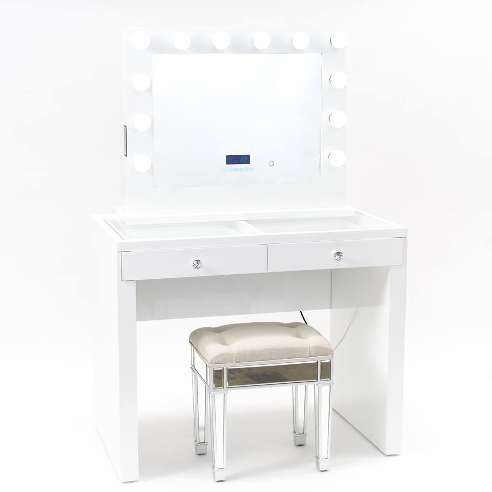 Vanity Station 2 pieces - White Vanity With 2 Drawers with White Bluetooth Hollywood Mirror- STOOL NOT INCLUDED-IN STOCK