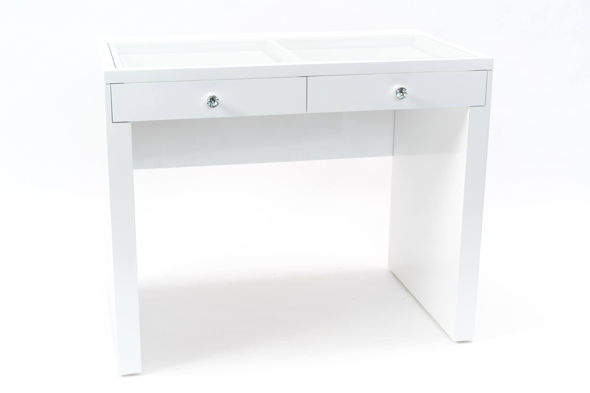 Vanity Station 2 pieces - White Vanity With 2 Drawers with White Bluetooth Hollywood Mirror- STOOL NOT INCLUDED-PRE ORDER FOR MARCH SHIPPING