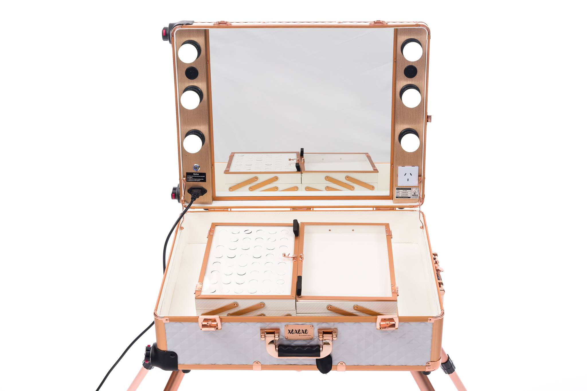 Makeup Station Large With Bluetooth Speakers, Usb and Power Point-XOXOXO WHITE DIAMOND & ROSE GOLD