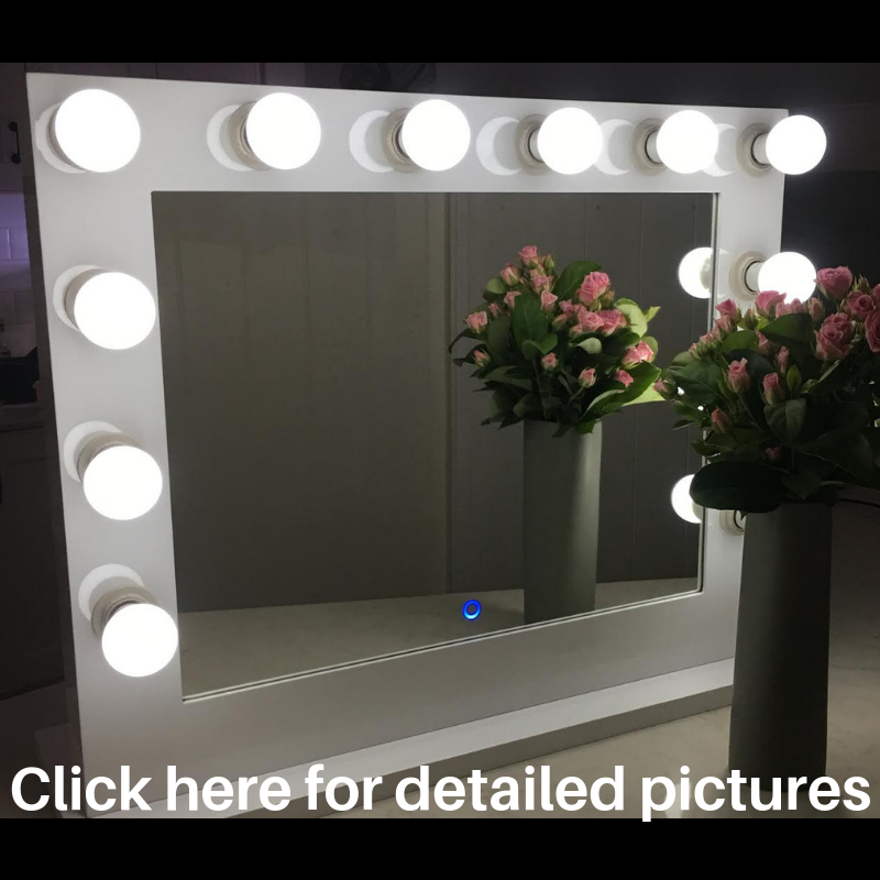 Hollywood Mirror Large WHITE Bluetooth Speakers,Sensor Dimmer,USB,Power Point- IN STOCK LIMITED