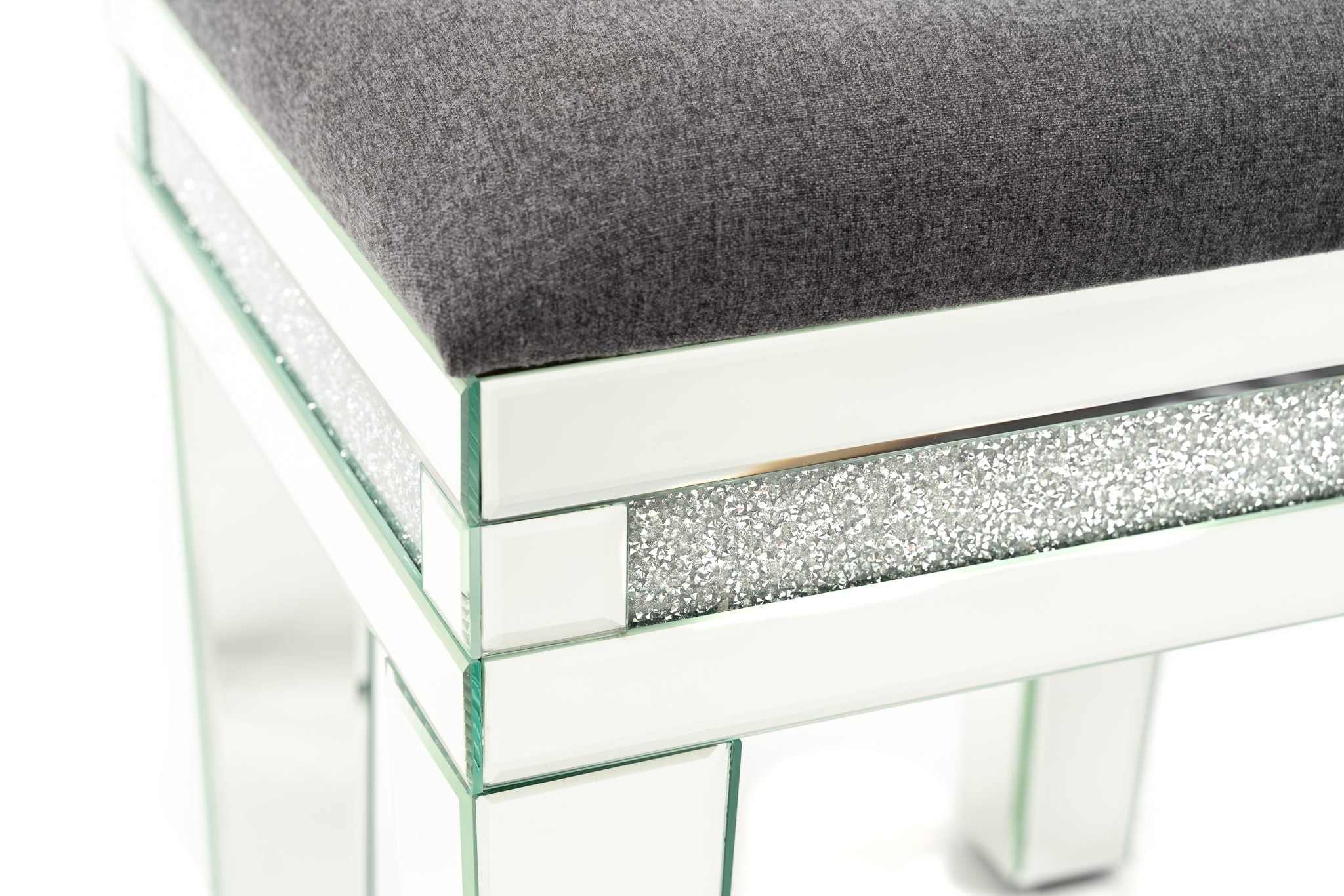 Vanity Stool with Crushed Crystals-VERY LIMITED STOCK